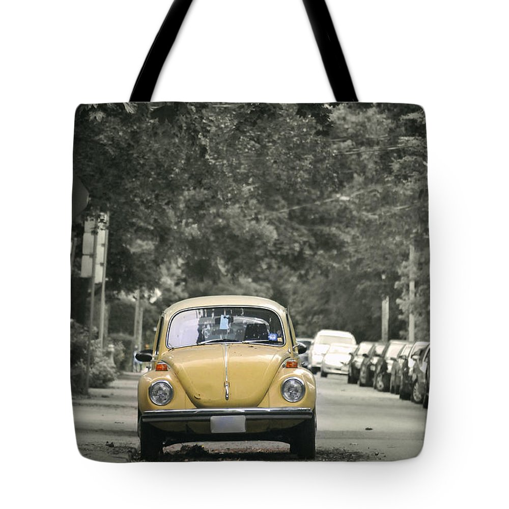Volkswagon Tote Bag featuring the photograph Yellow Bug by Robert Skuja