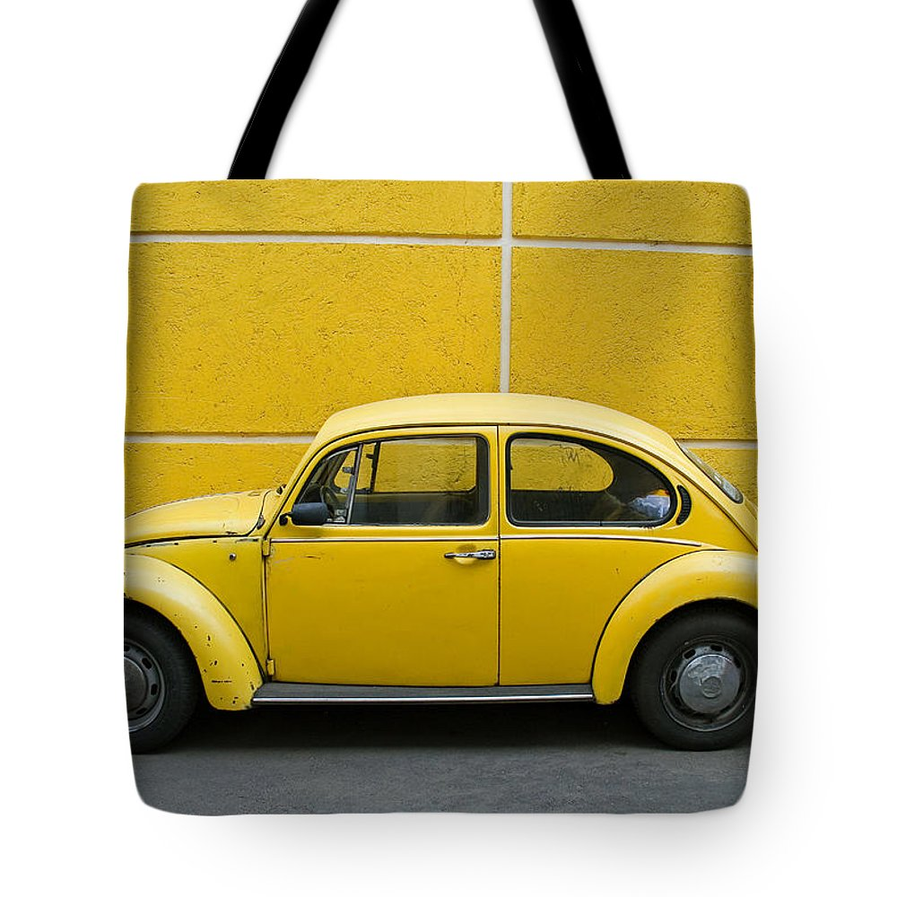 Yellow Tote Bag featuring the photograph Yellow Bug by Skip Hunt