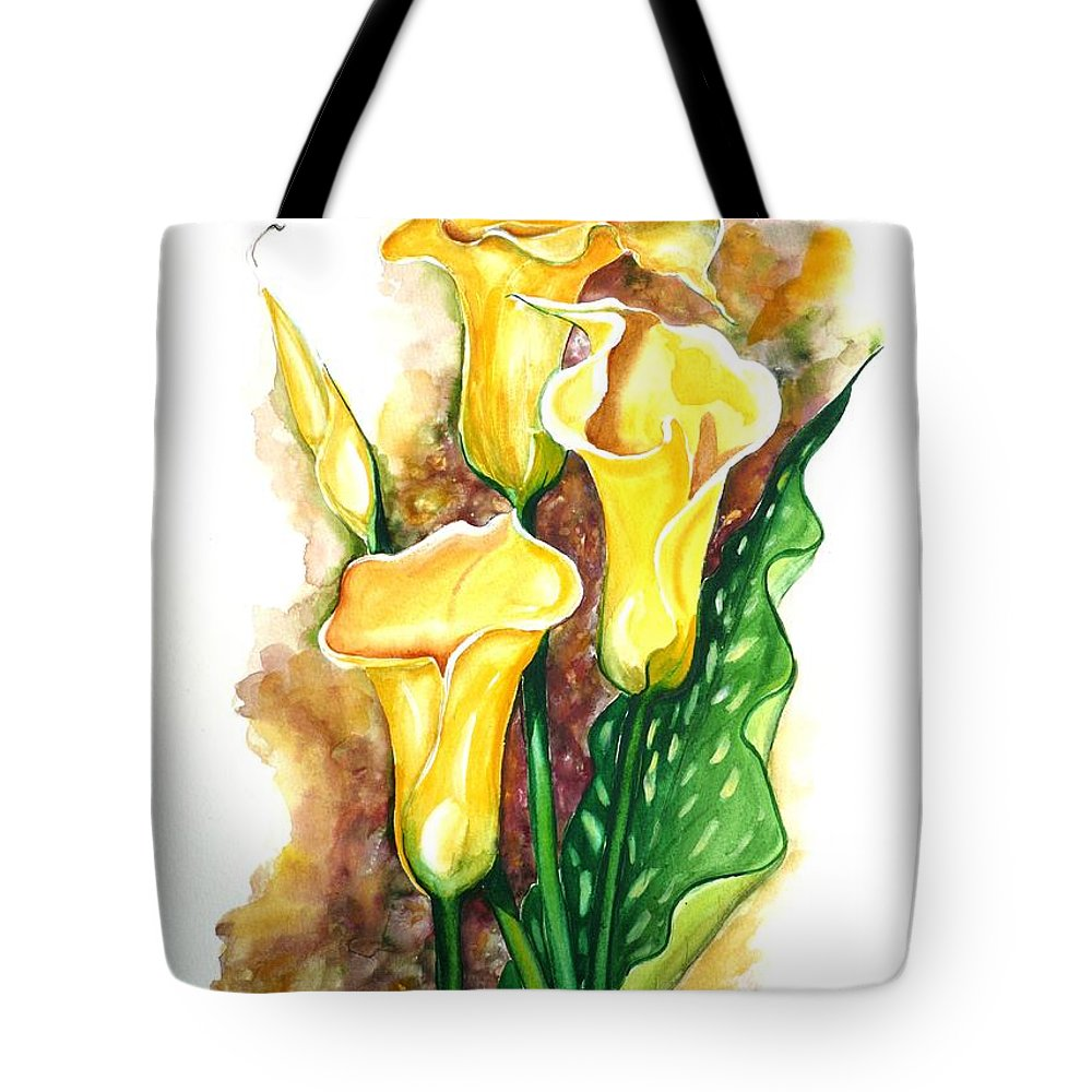 Flower Paintings Floral Paintings `yellow Flower Paintings  Lily Paintings Calla Lily Paintings  Botanical Paintings Greeting Card Paintings Canvas Print Paintings Poster Print Paintings Tote Bag featuring the painting Yellow Callas by Karin Dawn Kelshall- Best