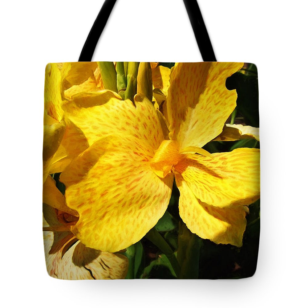 Yellow King Humbert Tote Bag featuring the photograph Yellow Canna Lily by Shawna Rowe