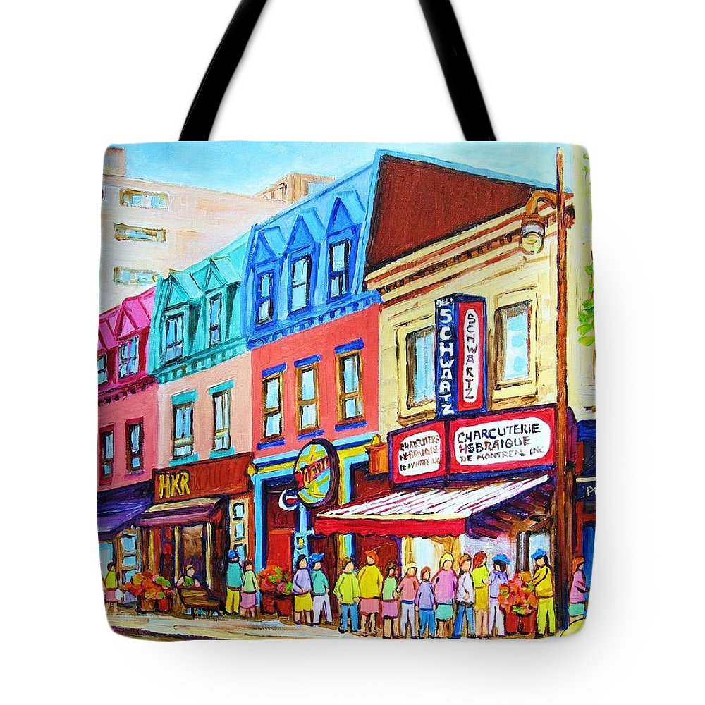 Reastarant Tote Bag featuring the painting Yellow Car At The Smoked Meat Lineup by Carole Spandau