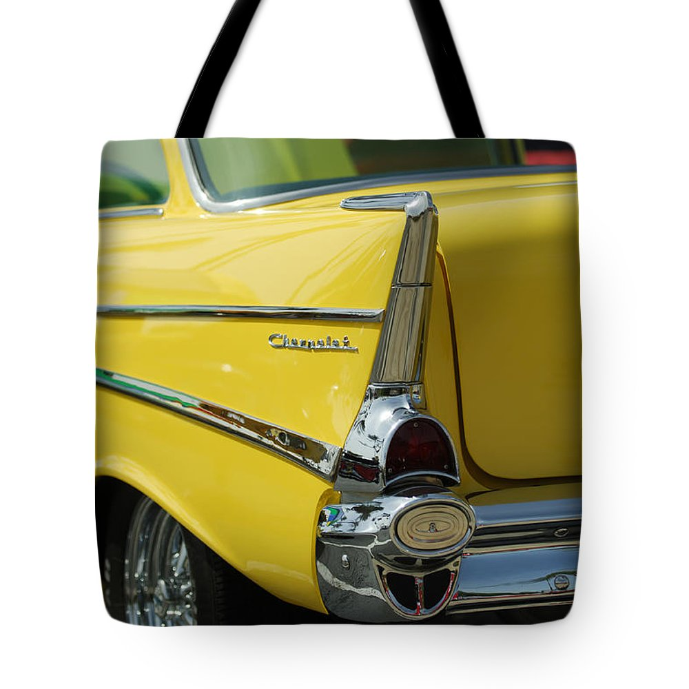Car Tote Bag featuring the photograph Yellow Chevrolet Tail Fin by Jill Reger