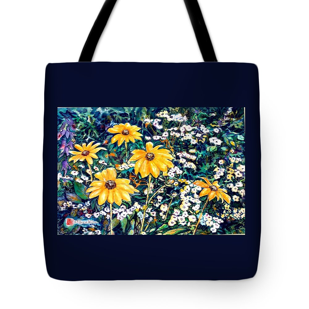 Daisies Tote Bag featuring the painting Yellow Daisies by Norma Boeckler