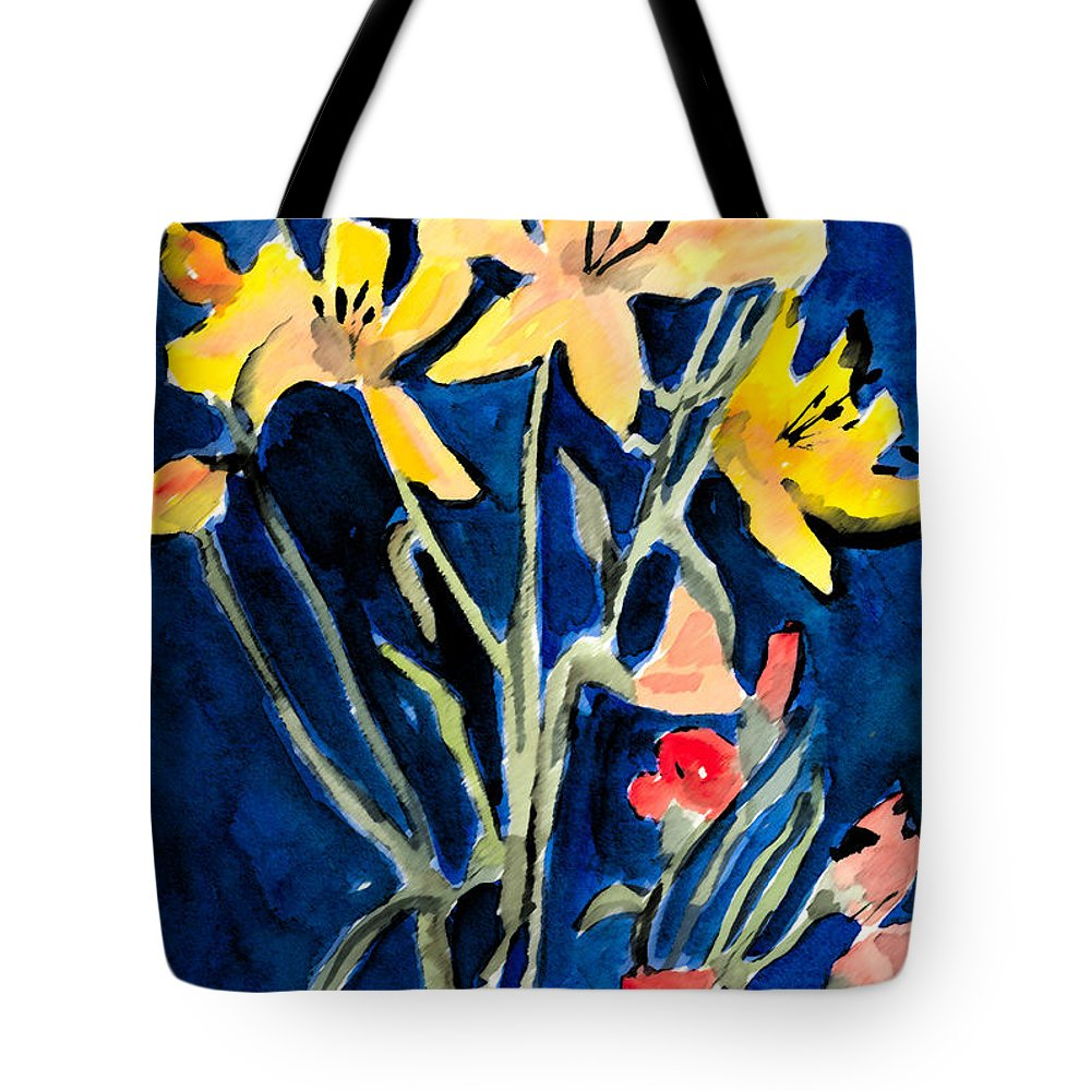 Flower Tote Bag featuring the painting Yellow Daylilies by Arline Wagner