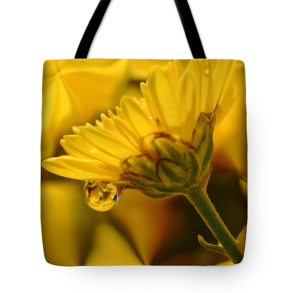 Flowers Tote Bag featuring the photograph Yellow Drip by Linda Sannuti