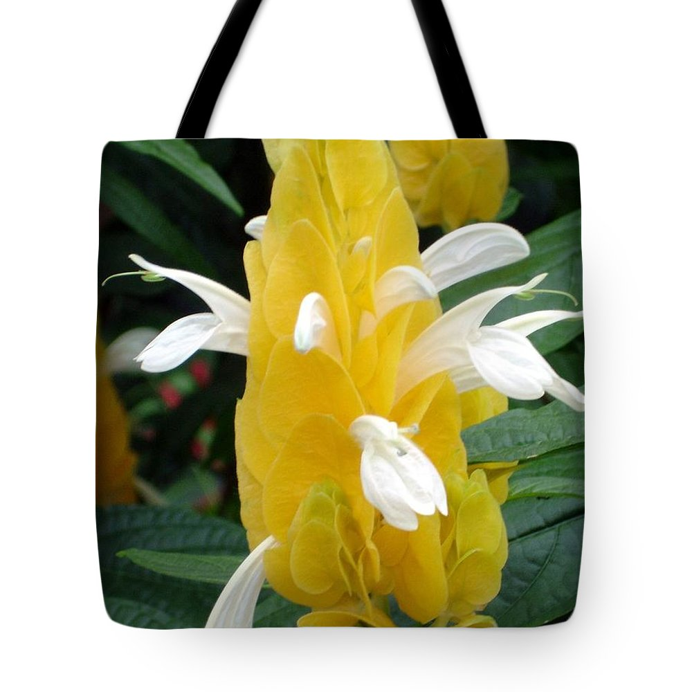 Flower Tote Bag featuring the photograph Yellow Eruption by Shelley Jones