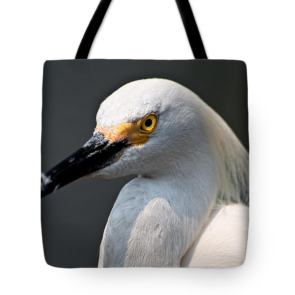 Snowy Egret Tote Bag featuring the photograph Yellow Eye by Christopher Holmes
