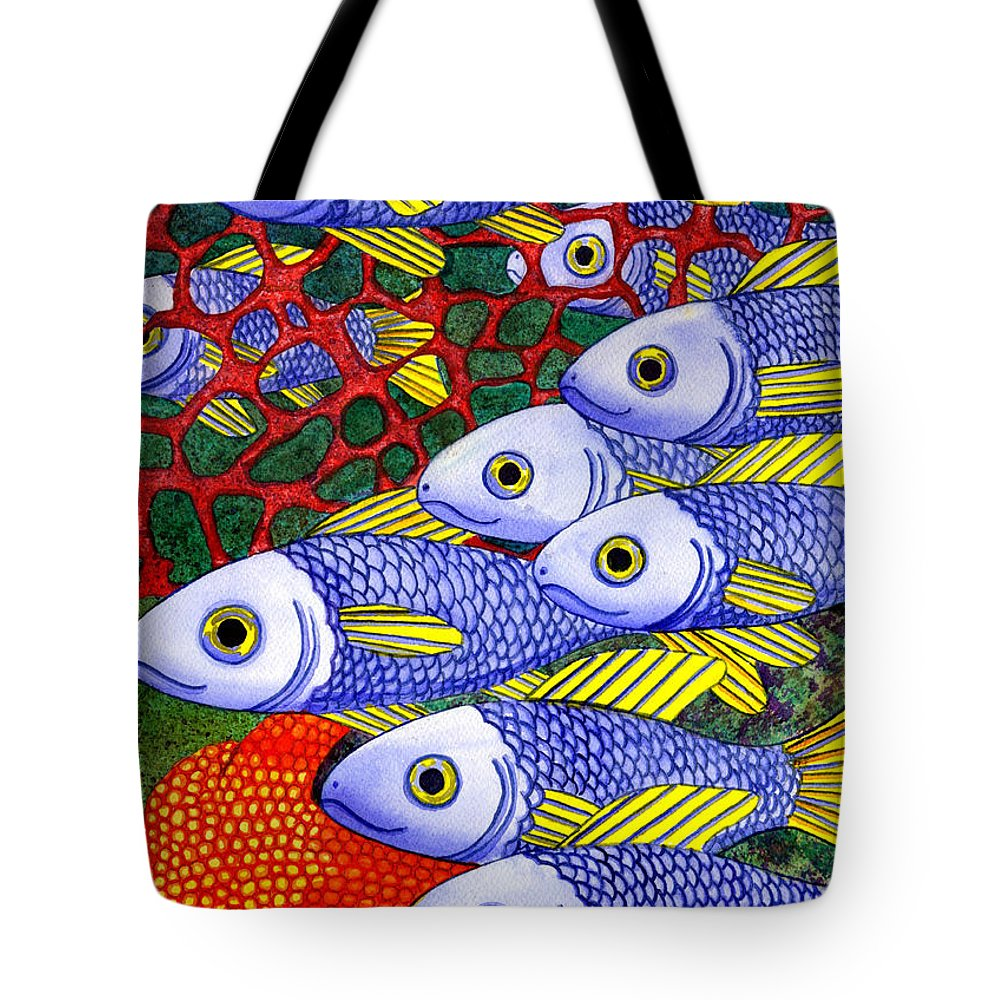 Fish Tote Bag featuring the painting Yellow Fins by Catherine G McElroy