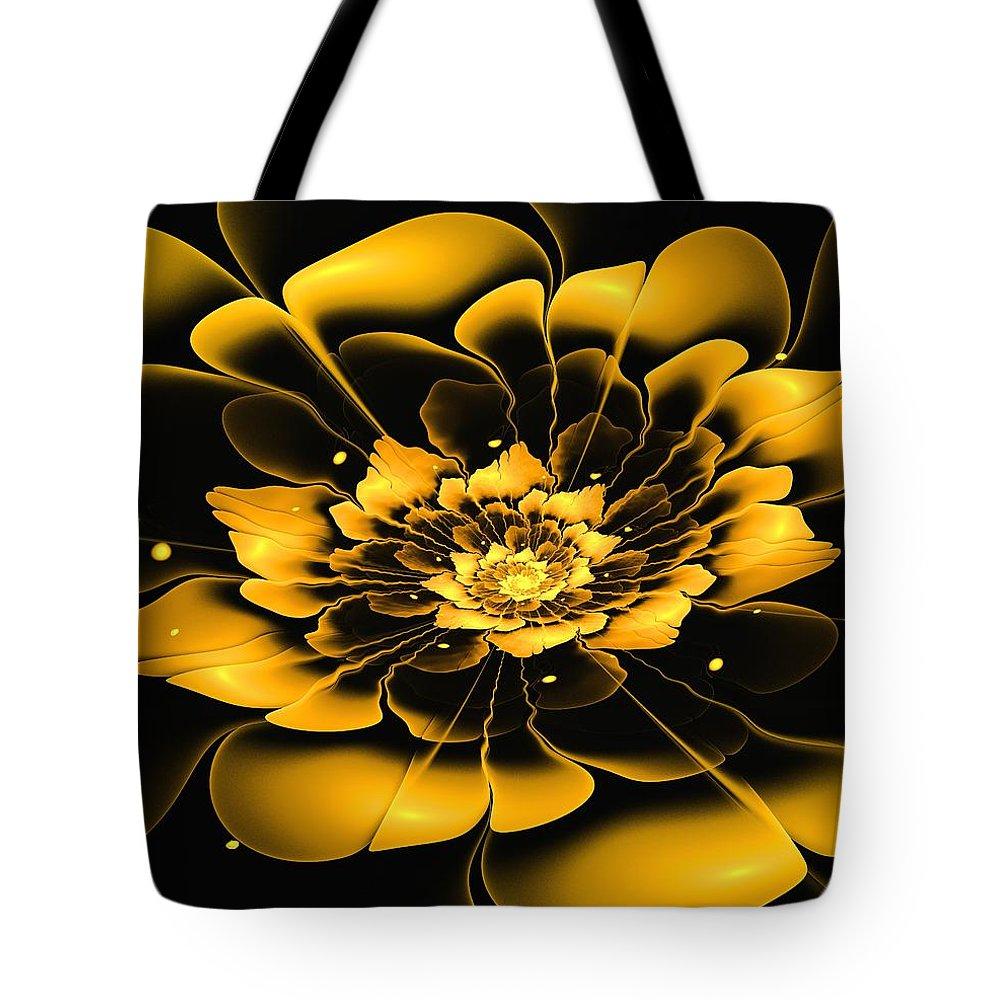 Flower Tote Bag featuring the digital art Yellow Flower by Anastasiya Malakhova