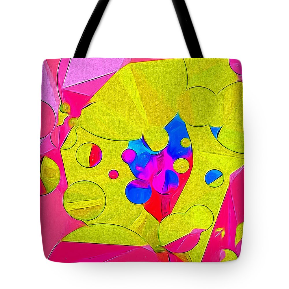 Colorful Tote Bag featuring the digital art Yellow Flower In Pink Field 008 by Mike Butler