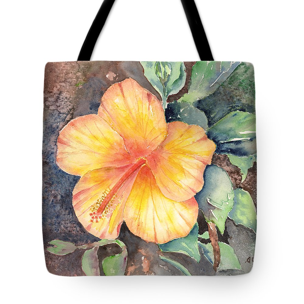 Hibiscus Tote Bag featuring the painting Yellow Hibiscus by Arline Wagner