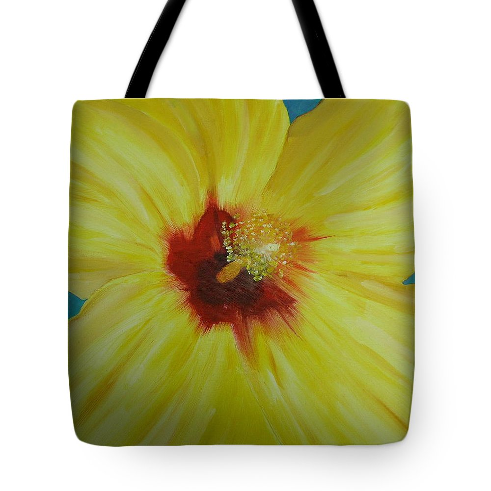 Flower Tote Bag featuring the print Yellow Hibiscus by Melinda Etzold