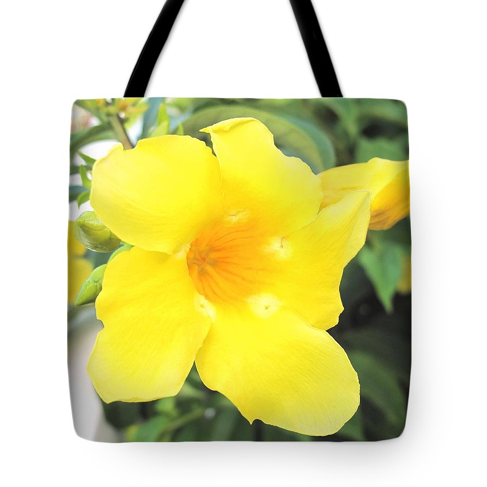 Yellow Tote Bag featuring the photograph Yellow Hibiscus St Kitts by Ian MacDonald
