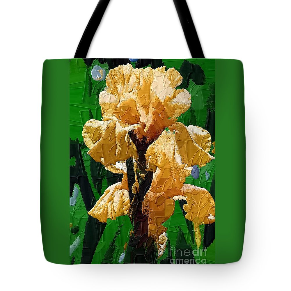 Diane Berry Tote Bag featuring the painting Yellow Iris by Diane E Berry