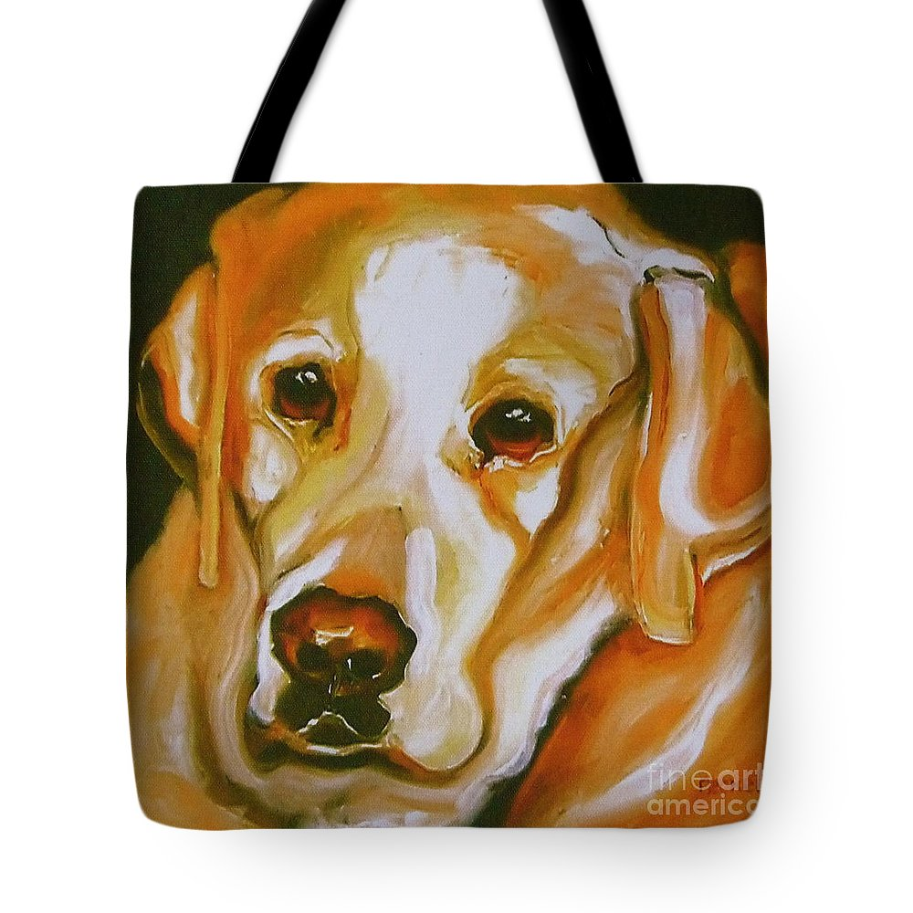 Oil Tote Bag featuring the painting Yellow Lab Amazing Grace by Susan A Becker
