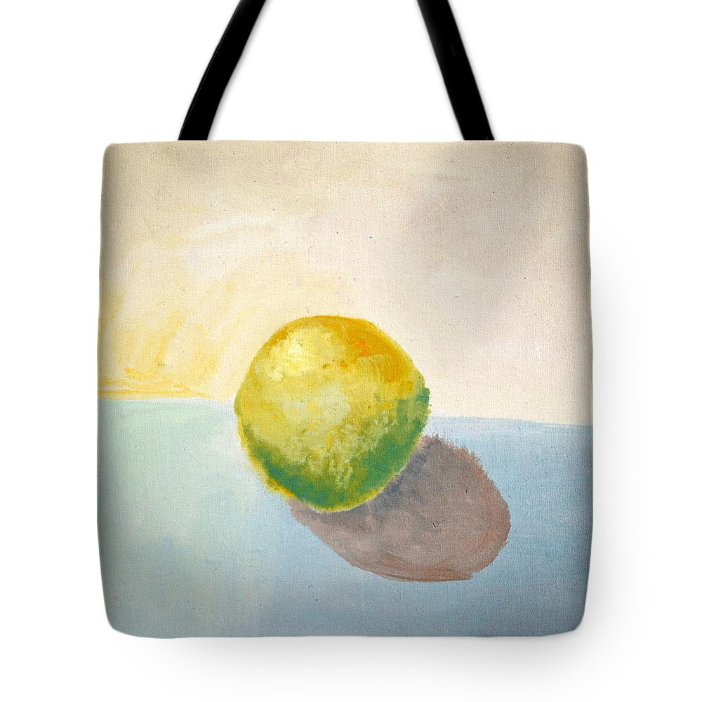 Lemon Tote Bag featuring the painting Yellow Lemon Still Life by Michelle Calkins
