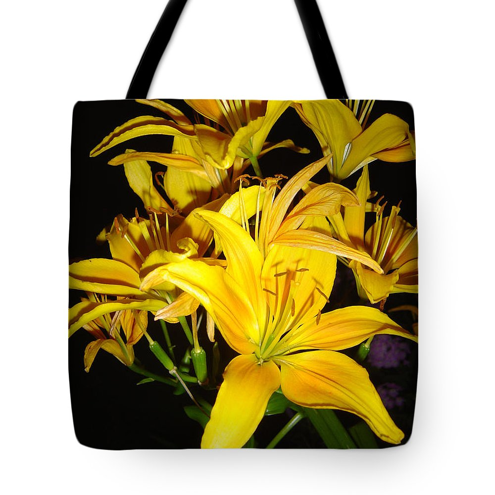 Yellow Lilies Bouquet Tote Bag featuring the photograph Yellow Lilies by Joanne Smoley