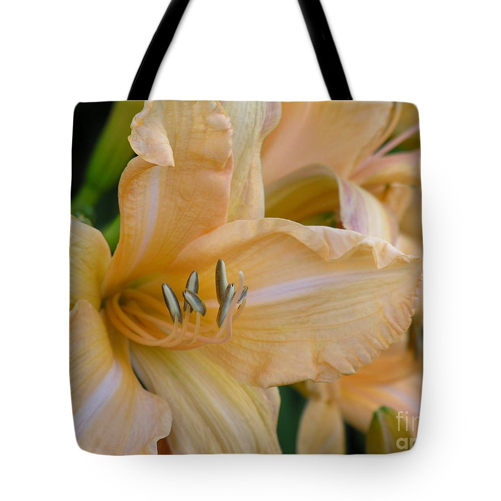 Yellow Tote Bag featuring the photograph Yellow Lilly by Diane Greco-Lesser