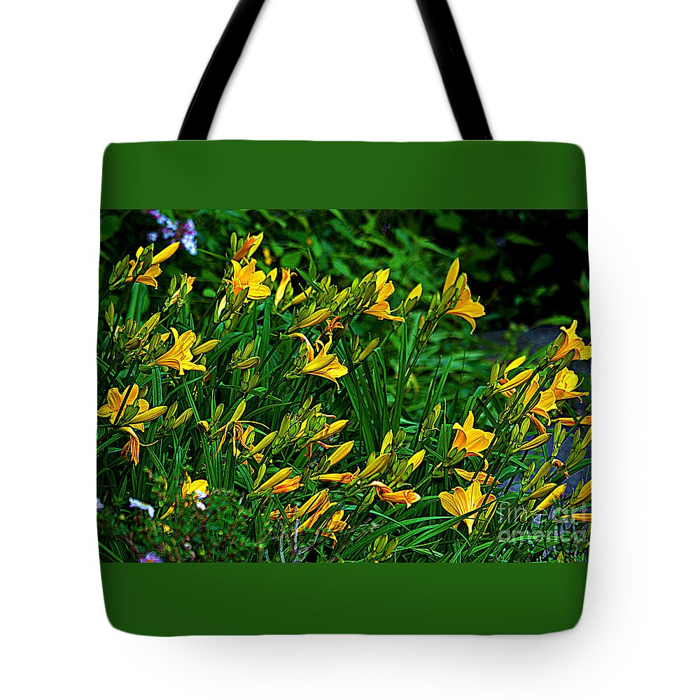 Yellow Lily Flowers Tote Bag featuring the photograph Yellow Lily Flowers by Susanne Van Hulst