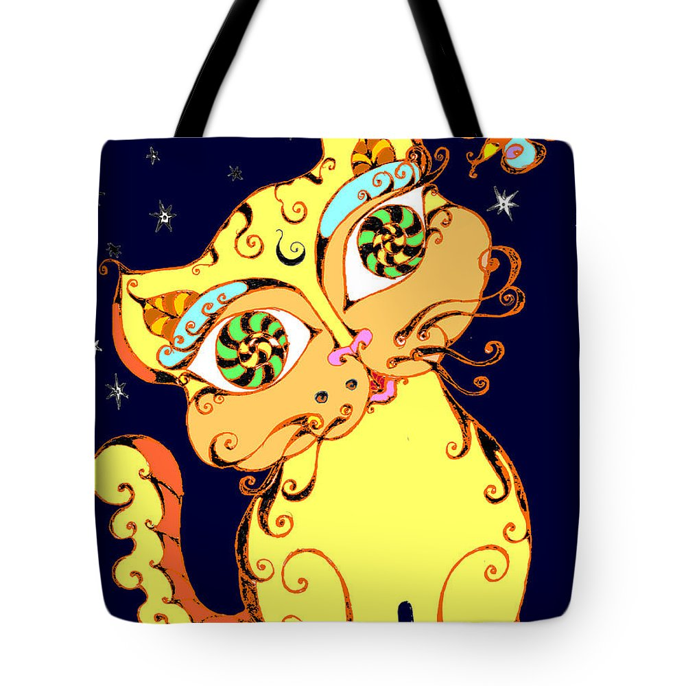 Black And White Tote Bag featuring the drawing Yellow Loopy Cat by Rae Chichilnitsky