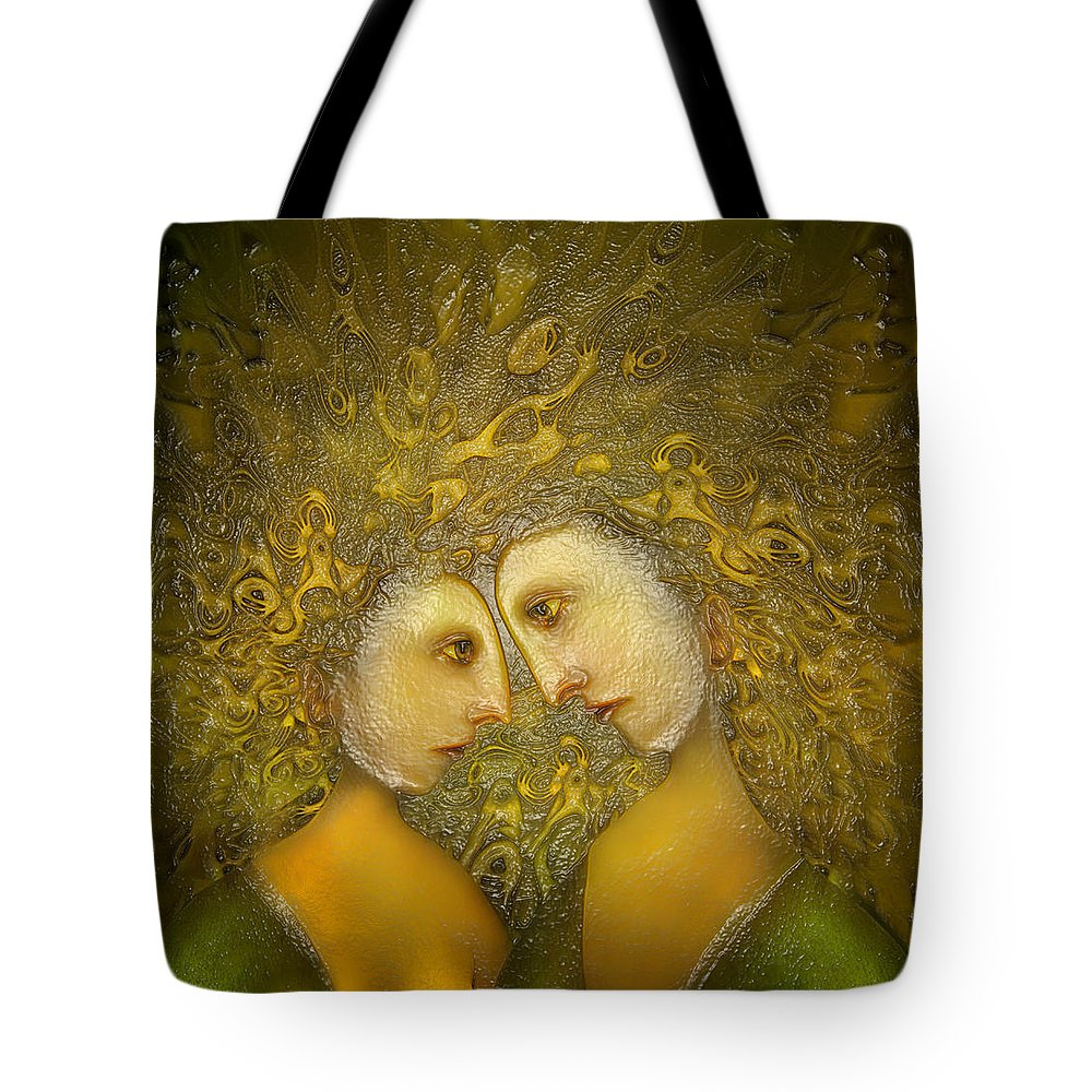 Yellow Lovers Tote Bag featuring the digital art Yellow Lovers by Surrealism