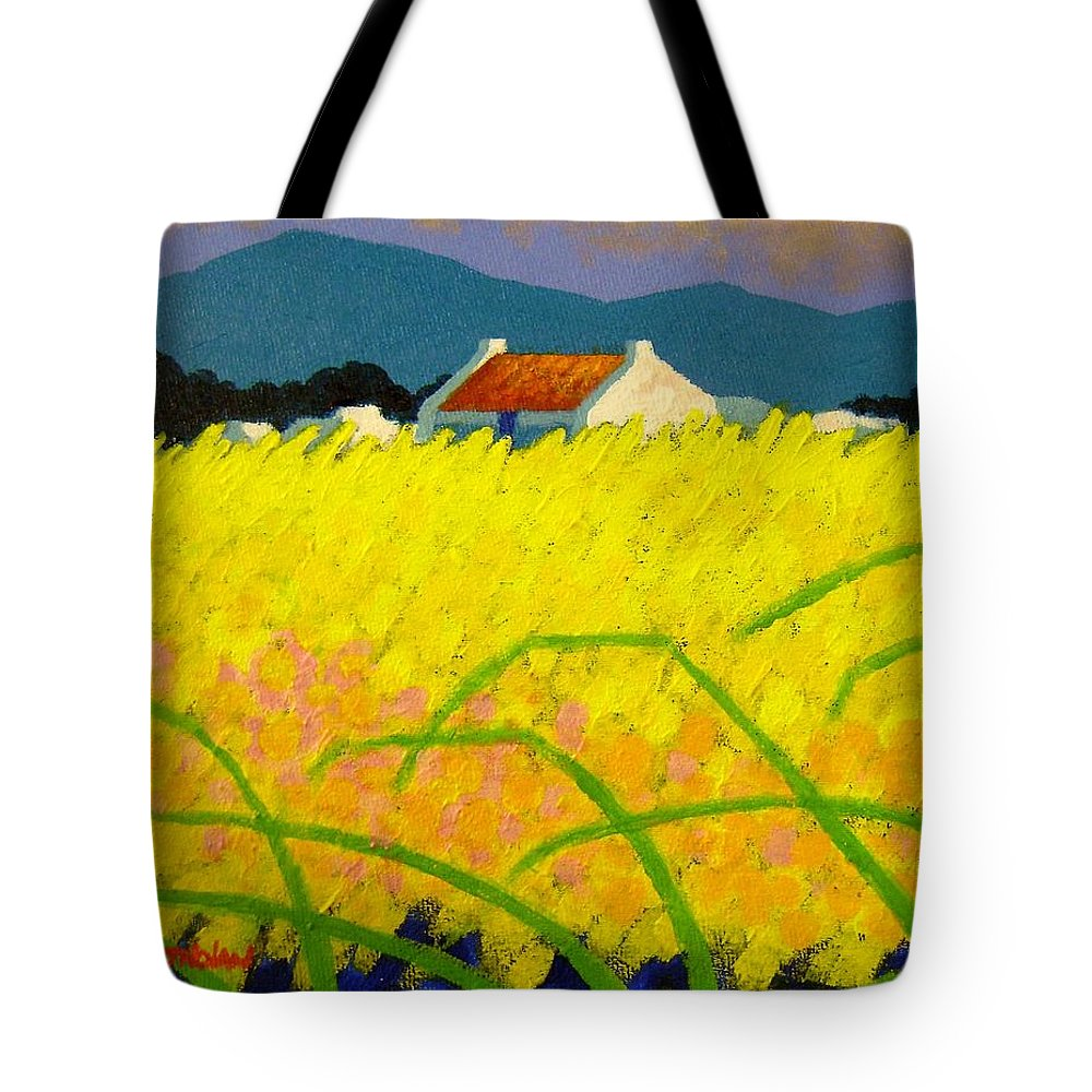 Irish Landscape Tote Bag featuring the painting yellow Meadow Ireland by John Nolan