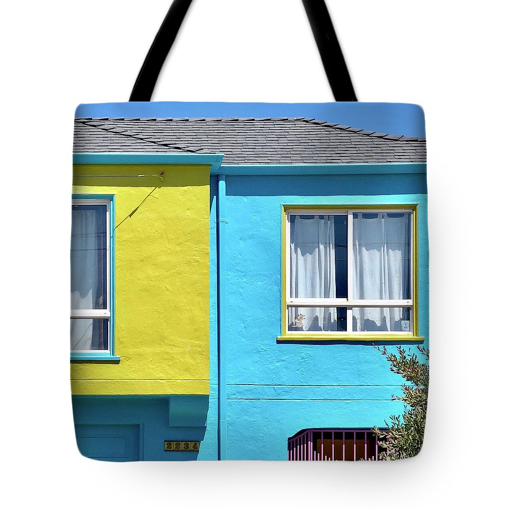 Tote Bag featuring the photograph Yellow Meets Blue by Julie Gebhardt