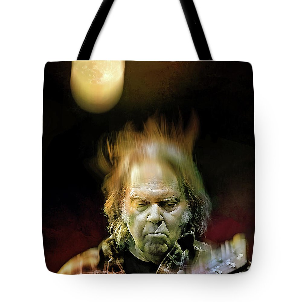 Neil Young Tote Bag featuring the digital art Yellow Moon On The Rise by Mal Bray