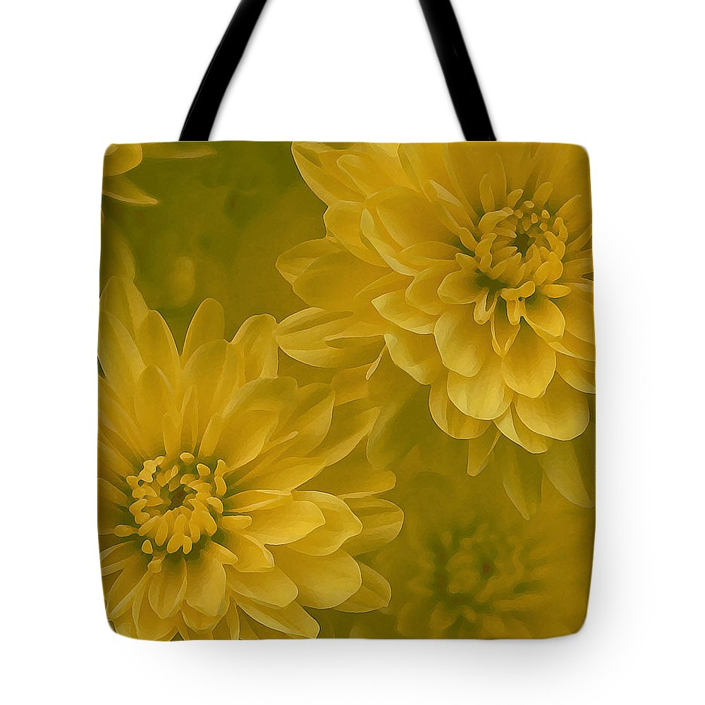 Yellow Mum Art Tote Bag featuring the photograph Yellow Mums by Linda Sannuti