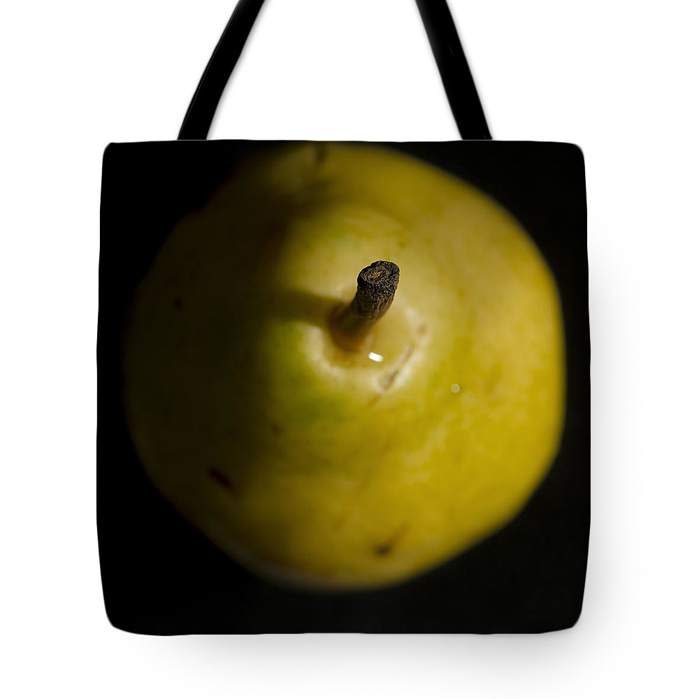 Pear Tote Bag featuring the photograph Yellow Pear Stem End by David Stone