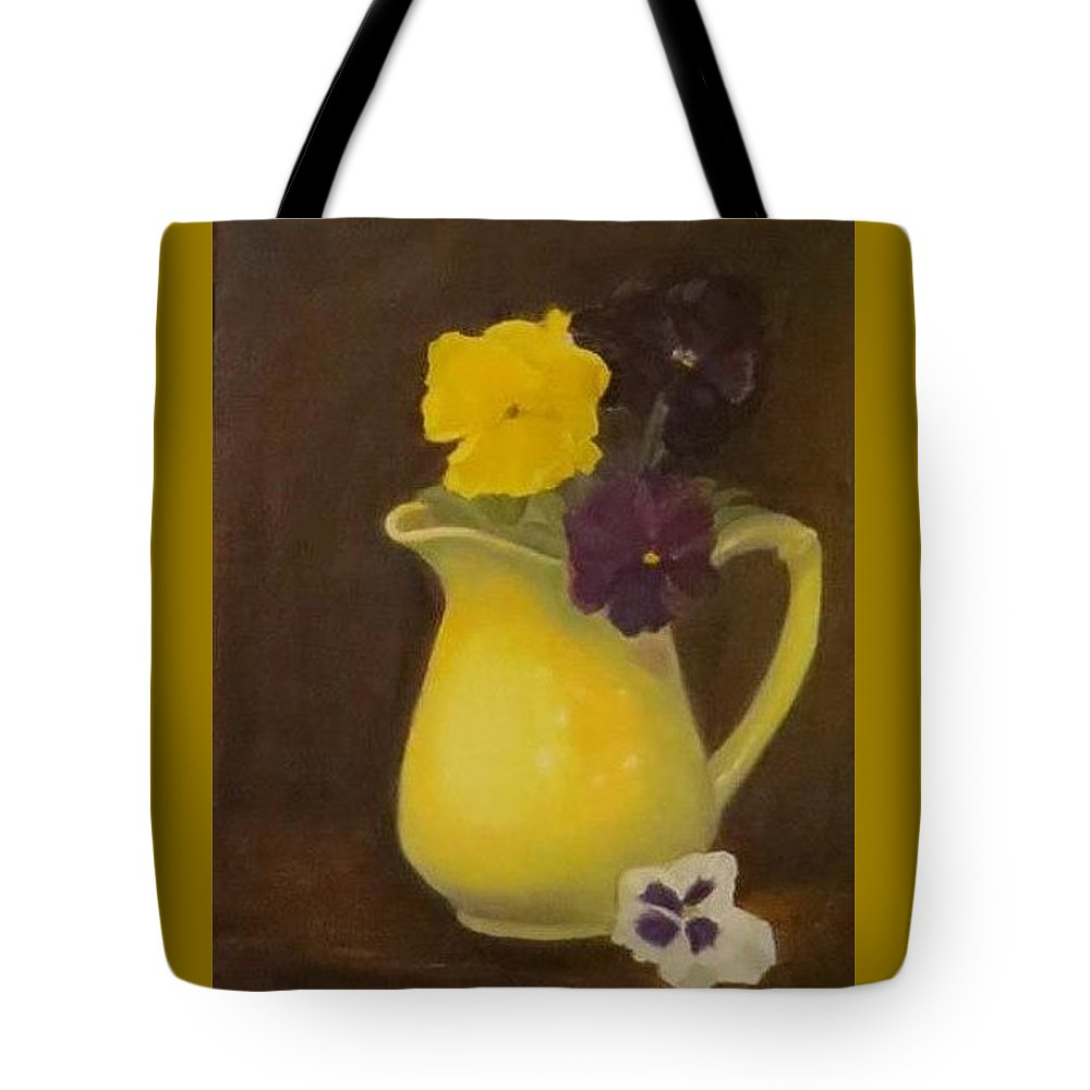 Still Life Tote Bag featuring the painting Yellow Pitcher 2 by Sandra Bourret