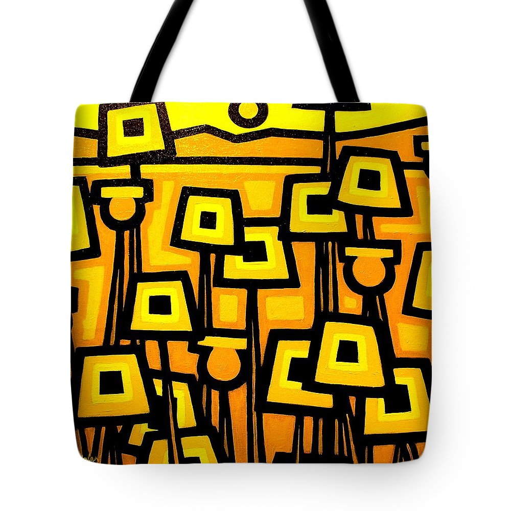 Poppies Tote Bag featuring the painting Yellow Poppies - Featured On The Abc Comedy Series Super Fun Night by John Nolan