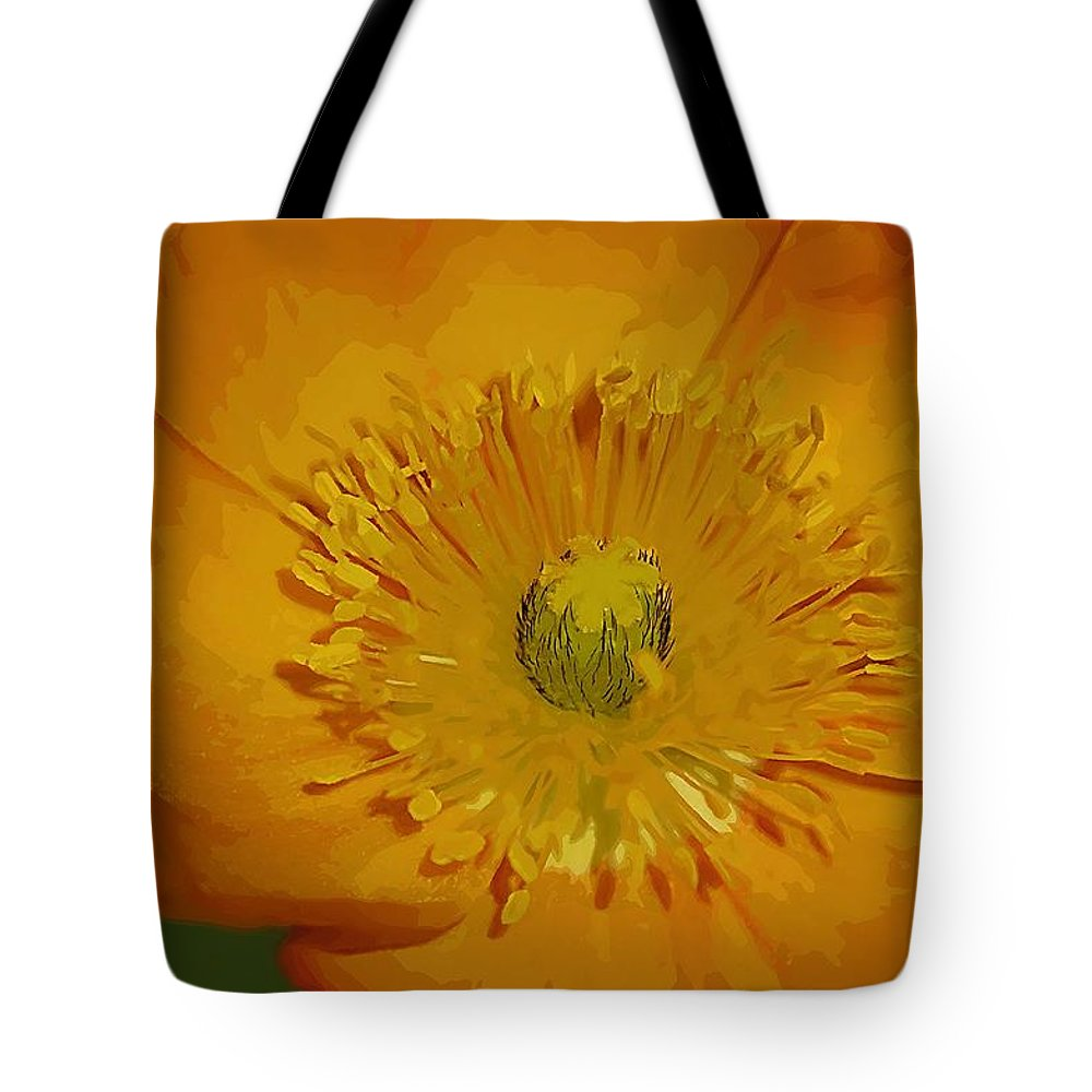 Poppy Tote Bag featuring the photograph Yellow Poppy by Donna Bentley