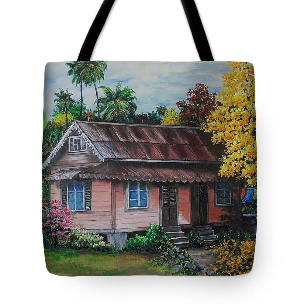 Old House Tote Bag featuring the painting Yellow Poui Time by Karin Dawn Kelshall- Best