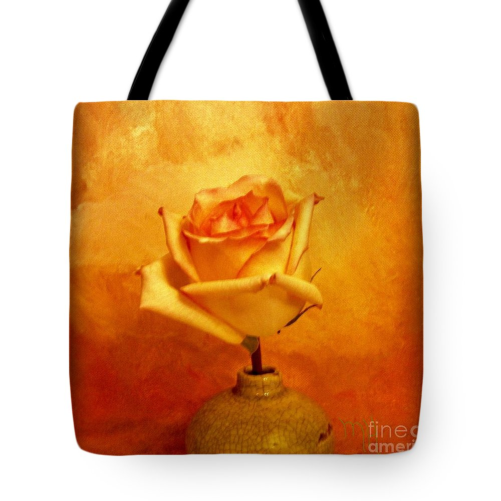 Photo Tote Bag featuring the photograph Yellow Red Orange Tipped Rose by Marsha Heiken