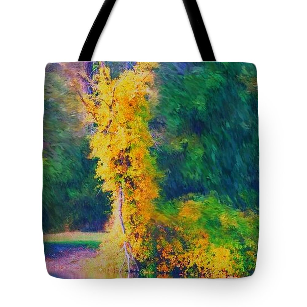 Digital Landscape Tote Bag featuring the digital art Yellow Reflections by David Lane