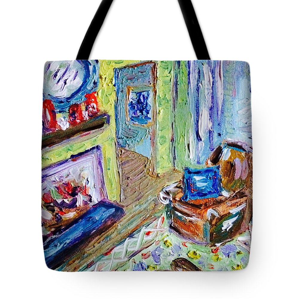 Impressionist Tote Bag featuring the painting Yellow Room by Julie Stratton