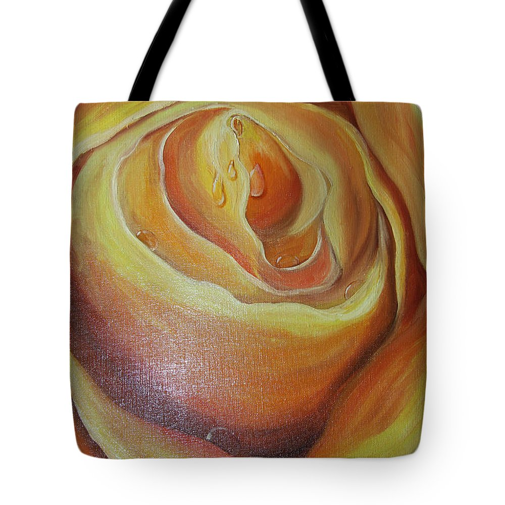Color Tote Bag featuring the painting Yellow Rose by Nataliia Fialko