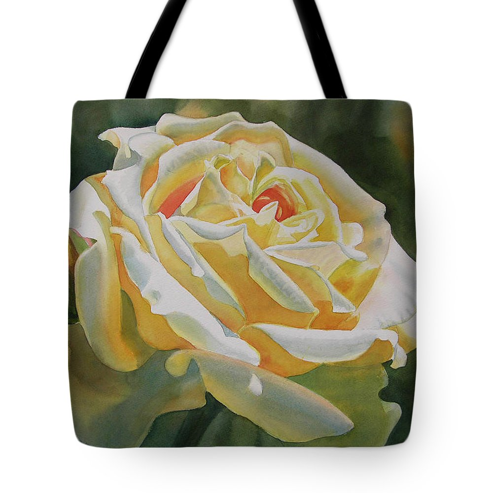 Flower Tote Bag featuring the painting Yellow Rose With Bud by Sharon Freeman