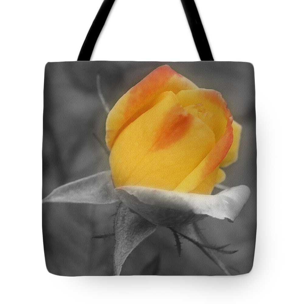 Rose Tote Bag featuring the photograph Yellow Rosebud Partial Color by Smilin Eyes Treasures