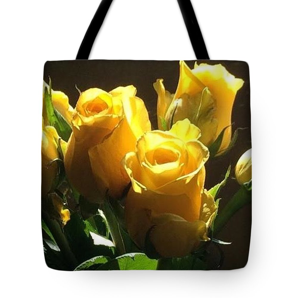 Yellow Tote Bag featuring the photograph Yellow Roses by Phyllis Mosley