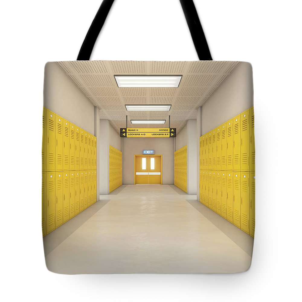 Locker Tote Bag featuring the digital art Yellow School Lockers Light by Allan Swart