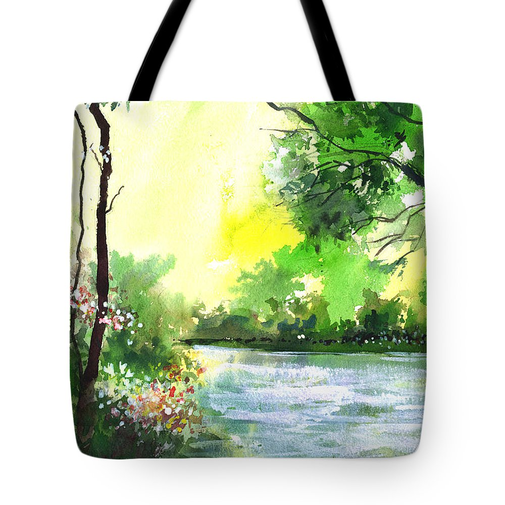 Sky Tote Bag featuring the painting Yellow Sky by Anil Nene