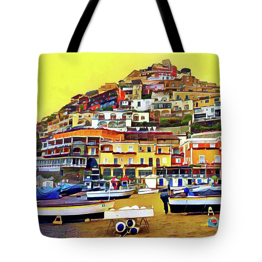 Sorrento Tote Bag featuring the digital art Yellow Sky In Positano by Lisa Lemmons-Powers
