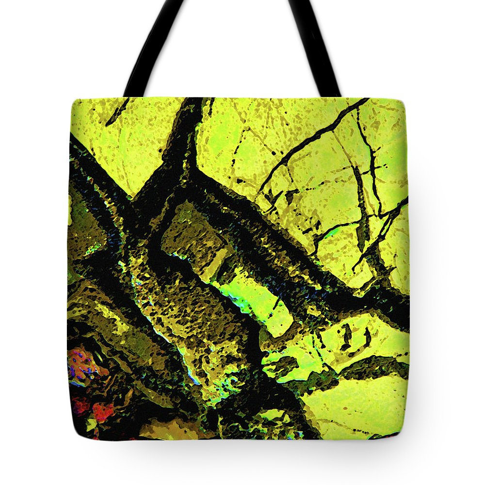 Abstract Tote Bag featuring the photograph Yellow Sky With Dead Cedar by Lenore Senior