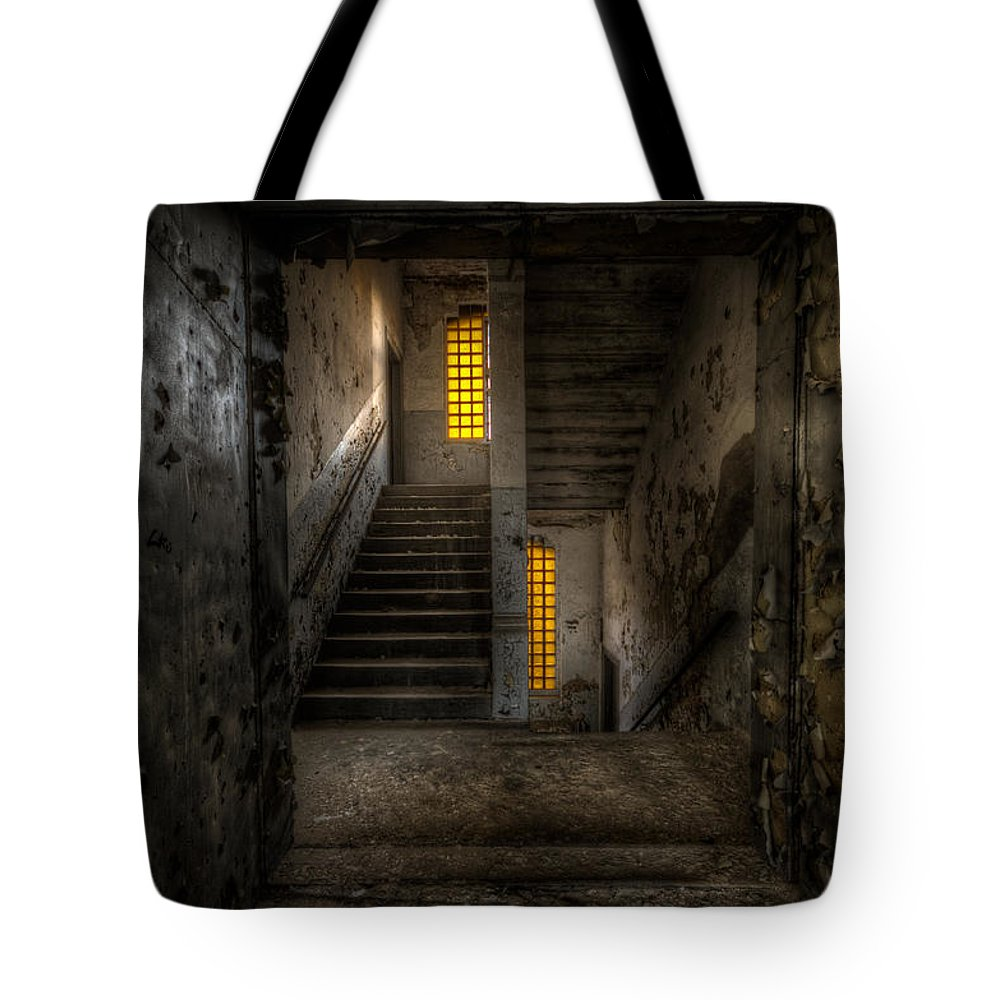 Urebx Tote Bag featuring the digital art Yellow Stairs by Nathan Wright