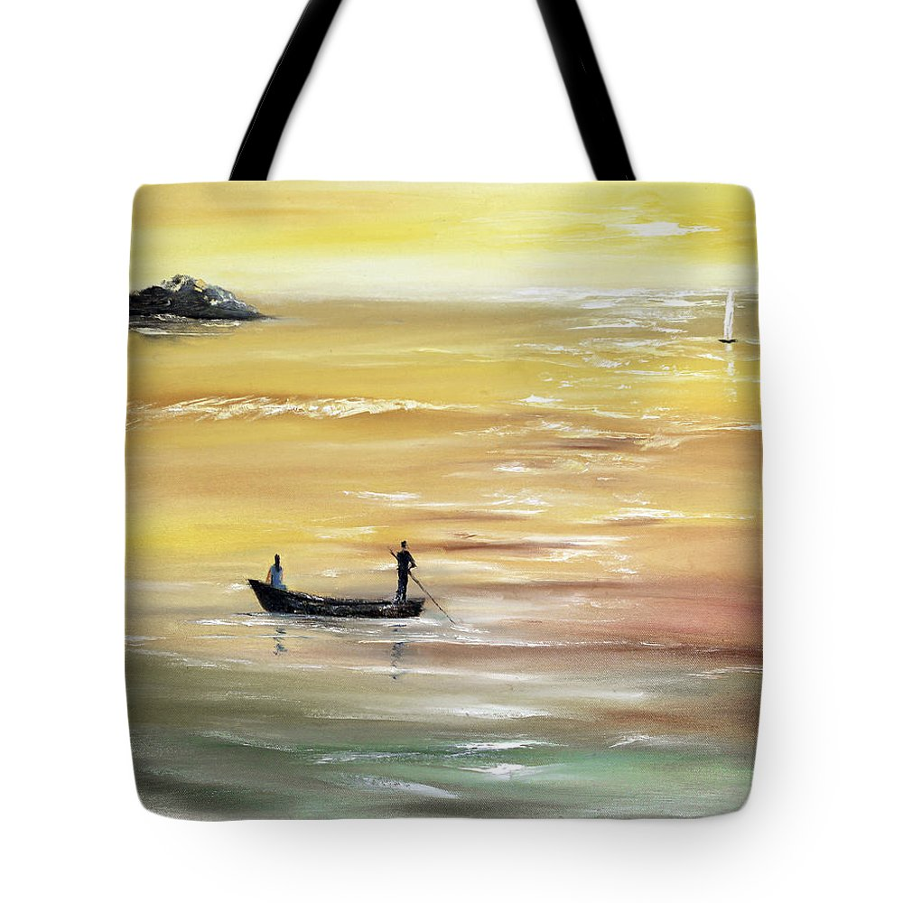 Seascape Tote Bag featuring the painting Yellow Sunset by Vera Persiyanova