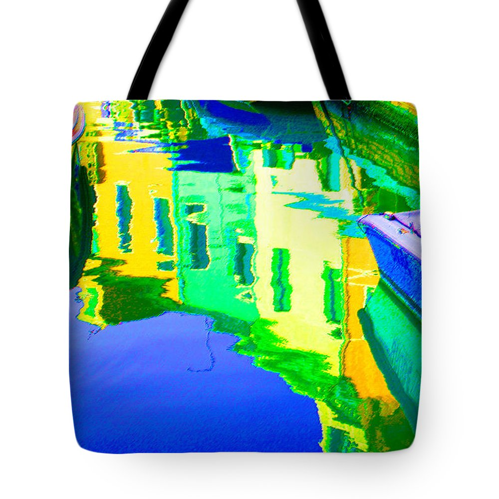 Yellow Tote Bag featuring the digital art Yellow Toned Reflections by Donna Corless