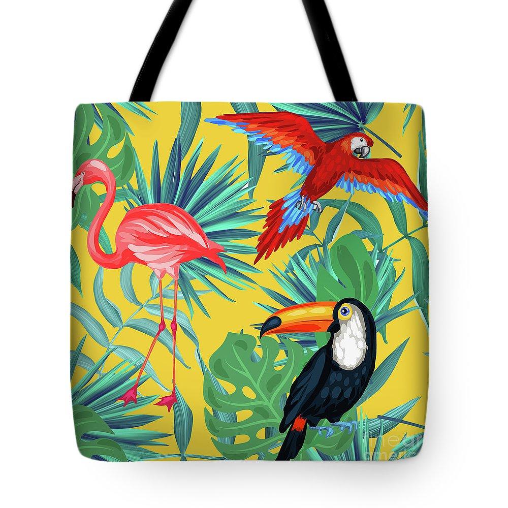 Parrot Tote Bag featuring the digital art Yellow Tropic by Mark Ashkenazi