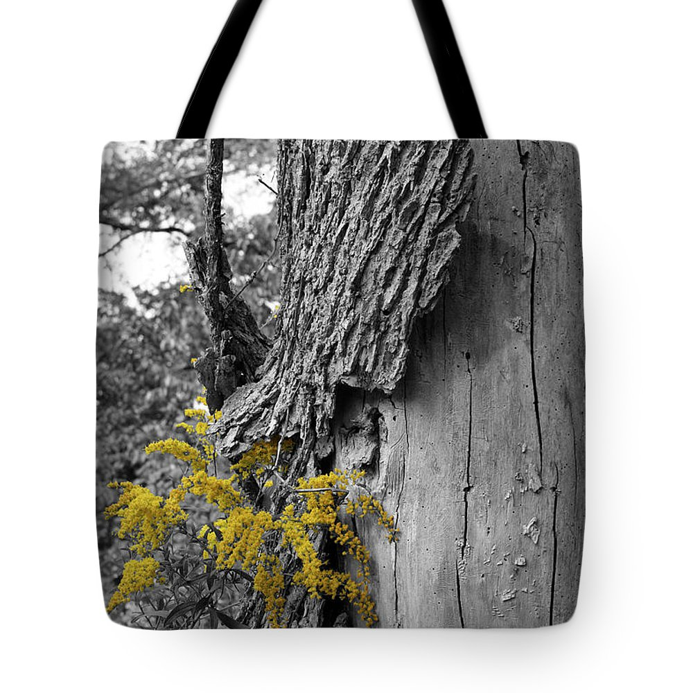 Bark Tote Bag featuring the photograph Yellow Tufts by Dylan Punke